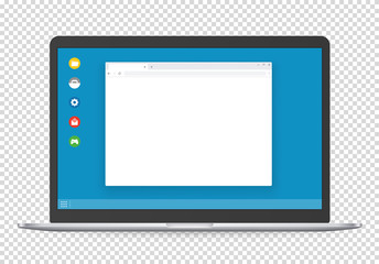 Obraz Modern computer with operating system interface template and blank browser page. - fototapety do salonu