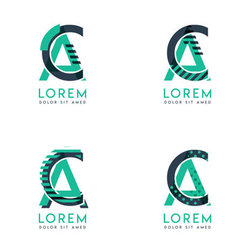 Four abstract CA logo posts set with dot and slash, green and black. very suitable for corporate identity, business, letterhead ,cards and banners