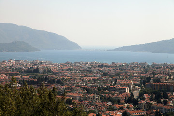 panoramic view of the city of Marmaris and bay, from a hill top