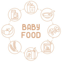 Baby food card. Linear style vector illustration. Suitable for advertising. There is place for your text