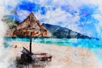Beautiful beach watercolor painting on white background,digital art style, illustration painting
