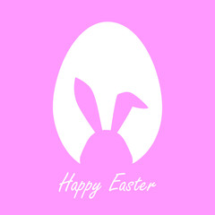 Happy Easter Greeting card with egg and rabbit, Funny  illustration vector on color background
