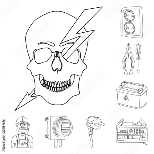Vector Design Of Electricity And Electric Sign Set Of Electricity