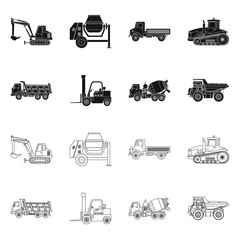Vector design of build and construction icon. Set of build and machinery stock symbol for web.