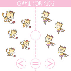 Game for kids. More, less or equal.Education logic game for preschool kids.