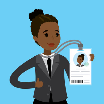 African american businesswoman or office worker holding badge