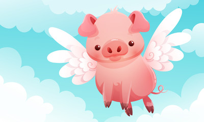 Cute little pig with wings flying among the clouds and a blue sky in the background. Vector illustration.