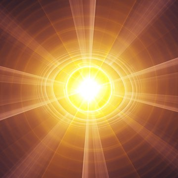Enlightening Eye Ball of Bursting Light with Spiral Background