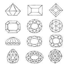 Diamond symbols. Sketch gems isolated on white background.