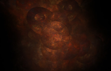 Red circle fractal on balck background. Fantasy fractal texture. Digital art. 3D rendering. Computer generated image.