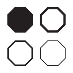 Set of octagon in balck for your design. Vector illustration