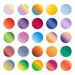 Set of rounded holographic gradient sphere button. Vector illustration