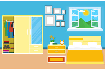 interior bedroom design with furniture for decorate. vector and illustration