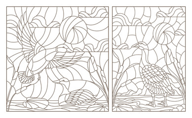 Set of contour illustrations with a pair of ducks and a goose on a pond and sky background, dark contours on a white background