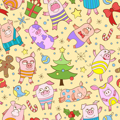 Seamless pattern on new year theme with funny cartoon colored pigs and snowflakes, colored icons on yellow background