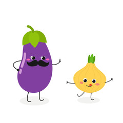 Amusing cartoon eggplant and onion characters
