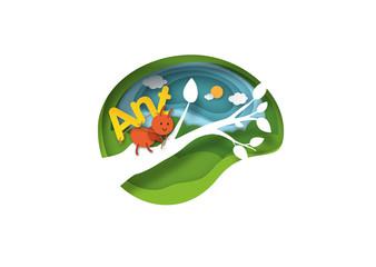 Alphabet Letter A-ant,paper cut concept vector illustration