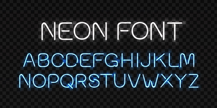 Vector realistic isolated neon sign of alphabet font letters for decoration and covering on the transparent background.