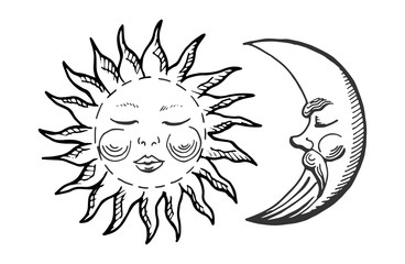 cartoon moon and sun icons