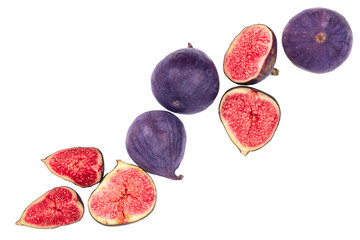 fig fruits isolated on white background with copy space for your text. Top view. Flat lay pattern