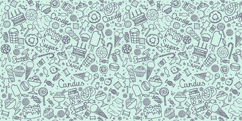 candy and sweet doodle background in vector