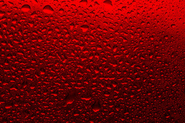 Red background with water droplets close-up. Horizontal photo