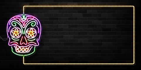 Vector realistic isolated neon sign of Dia de Muertos skull frame logo for decoration and covering on the wall background. Concept of Happy Day of the Dead in Mexico.