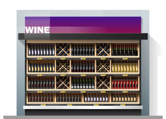 Various bottles of wine display on shelf in supermarket , vector , illustration