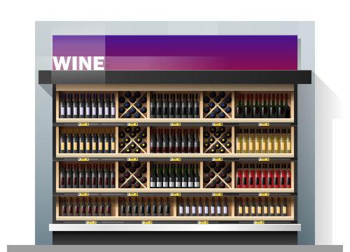 Various bottles of wine display on shelf in supermarket , vector , illustration