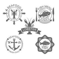 Seafood vintage vector emblems or labels on white