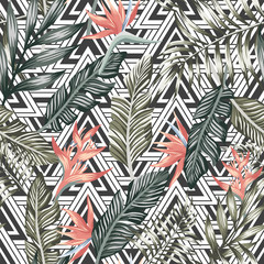 Wall Mural - Palm leaves tropical flowers seamless geometric triangle background