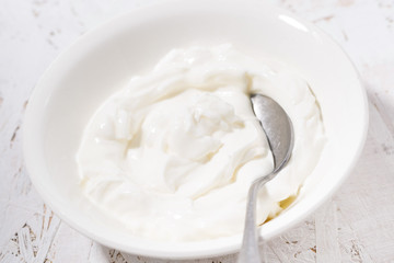 thick Greek yogurt in a bowl