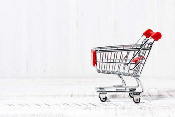trolley for food on a white background. concept photo