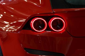 Detail on the rear light of a car. Car detail. Developed Car's rear brake light