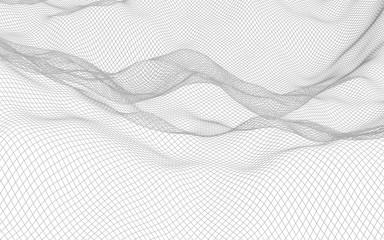 Abstract landscape on a white background. Cyberspace grid. Hi-tech network. 3d technology illustration
