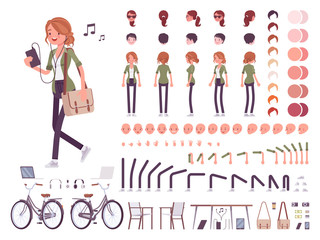 Young red-haired woman character creation set