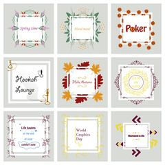 Set Of Typographic Backgrounds / Motivational Quotes / Colors With Calligraphic Elements