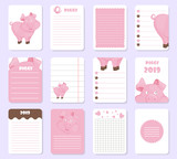 kids notebook page template vector cards notes stickers labels