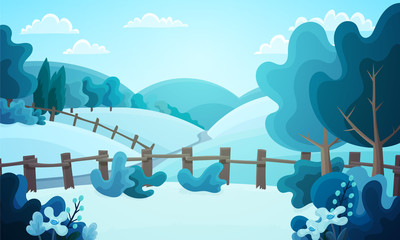 Colorful countryside landscape of fenced fields, bushes and trees. Winter season with snow covered ground and frozen vegetation. Vector illustration.