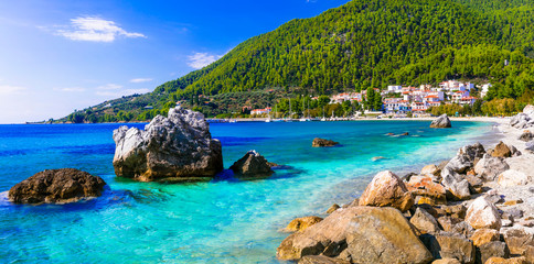Best of Skopelos island - picturesque village Neo Klima and Hovolos beach. Sporades, Greece