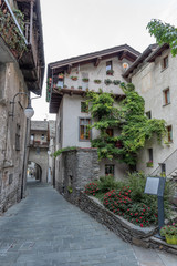Alley in the mountain village in Bard, vertical image