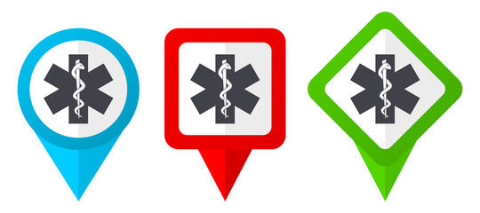 Emergency red, blue and green vector pointers icons. Set of colorful location markers isolated on white background easy to edit.