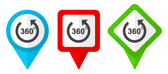 Panorama red, blue and green vector pointers icons. Set of colorful location markers isolated on white background easy to edit.