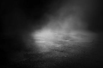 Background of an empty dark room. Empty walls, lights, smoke, glow, rays..