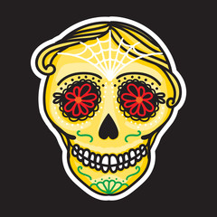 Calavera sign Dia de los muertos. Mexican Day of the dead. Vector hand drawing illustration man sticker