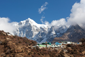 Mount Thamserku and village on the way to Everest base camp, Nepal Himalaya