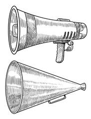 Megaphone illustration, drawing, engraving, ink, line art, vector
