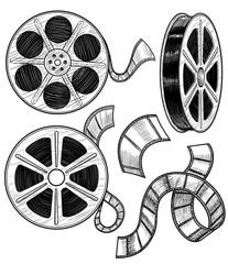 Film reel illustration, drawing, engraving, ink, line art, vector