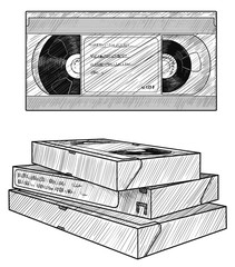 VHS video tape illustration, drawing, engraving, ink, line art, vector