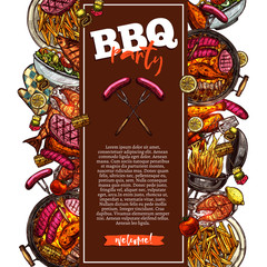 Bbq And Grill Background With Barbecue Party Invitation